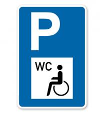 Parkplatzschild - Behinderte Toilette / WC - mit Symbol – P