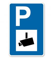 Parkplatzschild - Videoüberwacht - mit Kamerasymbol – P