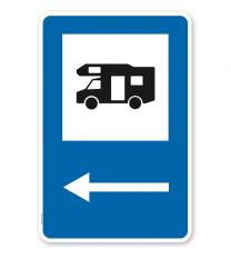 Parkplatzschild - Camping Wohnmobil - Pfeil links - mit Wohnmobilsymbol – P