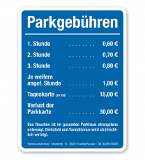 Parkplatzschild - Parkgebühren – P