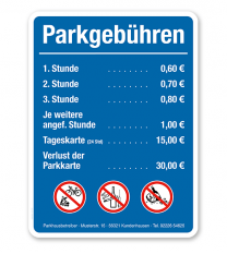 Parkplatzschild - Parkgebühren mit Verbotszeichen – P