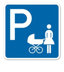 Parkplatzschild Mutter mit Kind / Kinderwagen - quadratisch - P