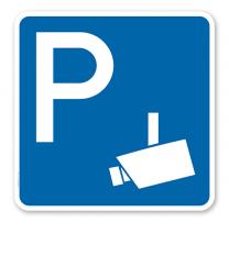 Parkplatzschild Videoüberwacht - quadratisch - P