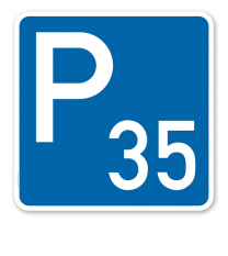 Parkplatzschild mit Nummerierung nach Wunsch - quadratisch - P