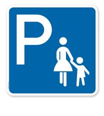 Parkplatzschild Mutter mit Kind - quadratisch - P