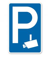 Parkplatzschild Videoüberwacht - Kamerasymbol – P