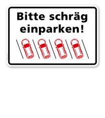Parkplatzschild Bitte schräg einparken – links P