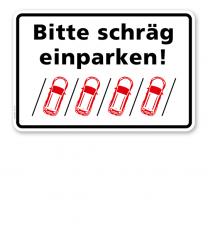 Parkplatzschild Bitte schräg einparken – rechts P