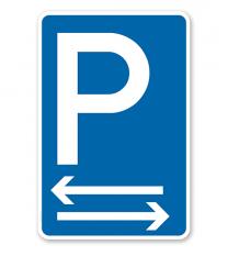Parkplatzschild mit 2 Pfeilen – P