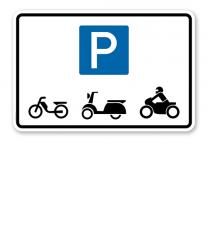 Hinweisschild Parkplätze nur für Mofas, Roller und Motorräder – P