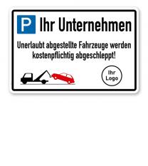 Parkplatzschild Firmenparkplatz - mit Firmenlogo – P