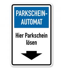 Parkplatzschild - Parkscheinautomat - hier Parkschein lösen – P