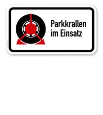 Zusatzschild Parkkrallen im Einsatz