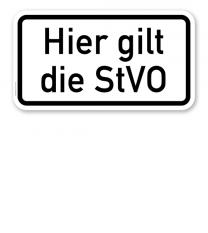 Zusatzschild Hier gilt die StVO – Verkehrsschild VZ 2803