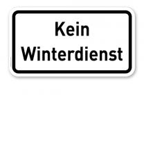 Zusatzschild Kein Winterdienst – Verkehrsschild VZ 2001