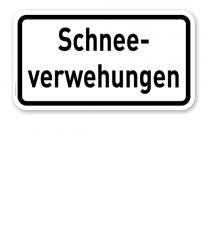 Zusatzschild Schneeverwehungen – Verkehrsschild VZ 2012