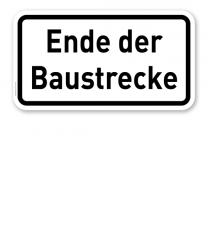 Zusatzschild Ende der Ausbaustrecke – Verkehrsschild VZ 2139