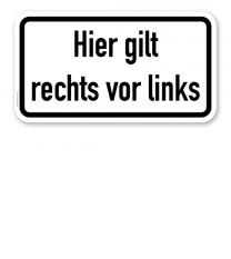 Zusatzschild Hier gilt rechts vor links – Verkehrsschild VZ 2804