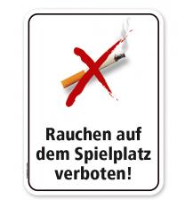 Schild Rauchen auf dem Spielplatz verboten – PB