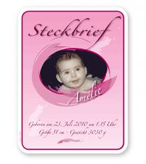 Steckbrief Geburt - rosa Mädchen - PB