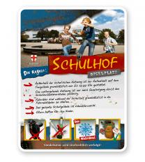 Schild Schulhof-Spielplatz 4P - PB - Bildwechsel ist möglich