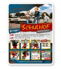 Schild Schulhof-Spielplatz 8P - PB - Bildwechsel ist möglich