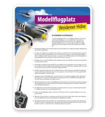 Schild Modellflugplatz mit Platzregeln - PV