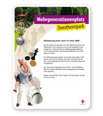 Schild Mehrgenerationenplatz - PV