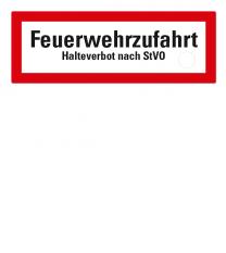 Brandschutzschild Feuerwehrzufahrt - Halteverbot nach StVO -  mit Siegelfläche nach DIN 4066