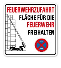 Brandschutzschild Feuerwehrzufahrt - Fläche für die Feuerwehr freihalten - mit Halteverbotszeichen