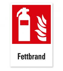 Brandschutzzeichen Feuerlöscher Fettbrand nach DIN EN ISO 7010 - F 001 - Kombi