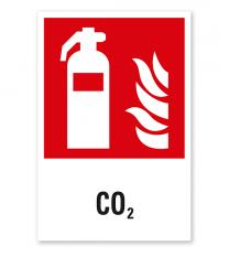 Brandschutzzeichen Feuerlöscher CO2 nach DIN EN ISO 7010 - F 001 - Kombi