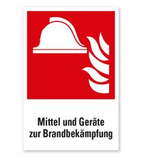 Brandschutzzeichen Mittel und Geräte zur Brandbekämpfung nach DIN EN ISO 7010 - F 004 - Kombi