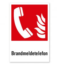 Brandschutzzeichen Brandmeldetelefon nach DIN EN ISO 7010 - F 006 - Kombi