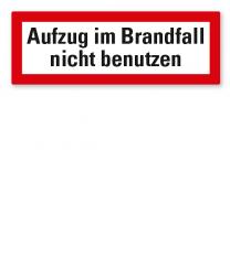 Brandschutzschild Aufzug im Brandfall nicht benutzen nach DIN 4066