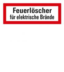 Brandschutzschild Feuerlöscher für elektrische Brände nach DIN 4066