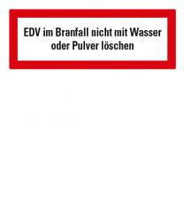 Brandschutzschild EDV nicht mit Wasser löschen nach DIN 4066