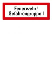 Brandschutzschild Feuerwehr-Gefahrengruppe I nach DIN 4066
