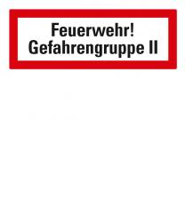 Brandschutzschild Feuerwehr-Gefahrengruppe II nach DIN 4066