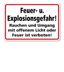 Feuer- u. Explosionsgefahr! Rauchen und Umgang mit offenem Licht oder Feuer ist verboten!