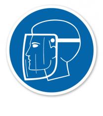 Gebotszeichen Gesichtsschutz benutzen nach DIN 4844-2