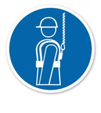 Gebotszeichen Auffanggurt benutzen nach BGV A8 - M 09