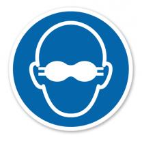 Gebotszeichen Weitgehend lichtundurchlässigen Augenschutz benutzen nach DIN EN ISO 7010 - M 007