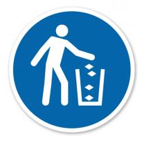 Gebotszeichen Abfallbehälter benutzen nach DIN EN ISO 7010 - M 030