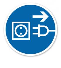 Gebotszeichen Vor Öffnen Netzstecker ziehen nach DIN 4844-2
