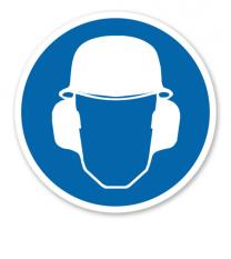 Gebotszeichen Gehör- und Kopfschutz benutzen