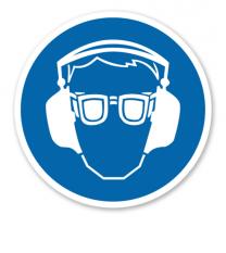 Gebotszeichen Augen- und Gehörschutz benutzen
