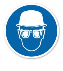 Gebotszeichen Augen- und Kopfschutz benutzen