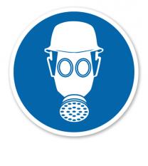 Gebotszeichen Atem- und Kopfschutz benutzen
