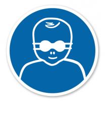 Gebotszeichen Kleinkinder durch weitgehend lichtundurchlässige Augenabschirmung schützen nach DIN EN ISO 7010 - M 025